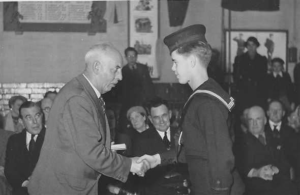 Photo:Year 1952/1953 (winter - myself receiving prize and award) age 12.5 years
