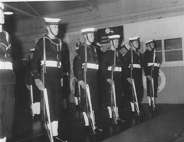 Photo:Year 1955. SCC Annual inspection: Guard 0 front row (3rd from rt my brother Patrick). Note we did well that year and the unit were presented with a burgee.